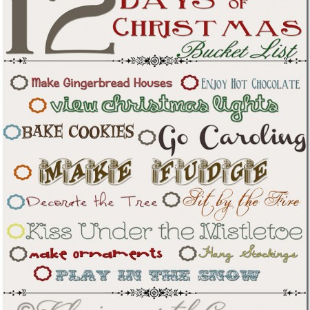 12 Days of Christmas Bucket List, Free Printable