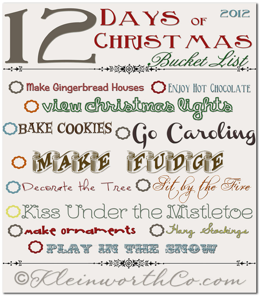 12 Days of Christmas Bucket List Free Printable  Kleinworth  Co