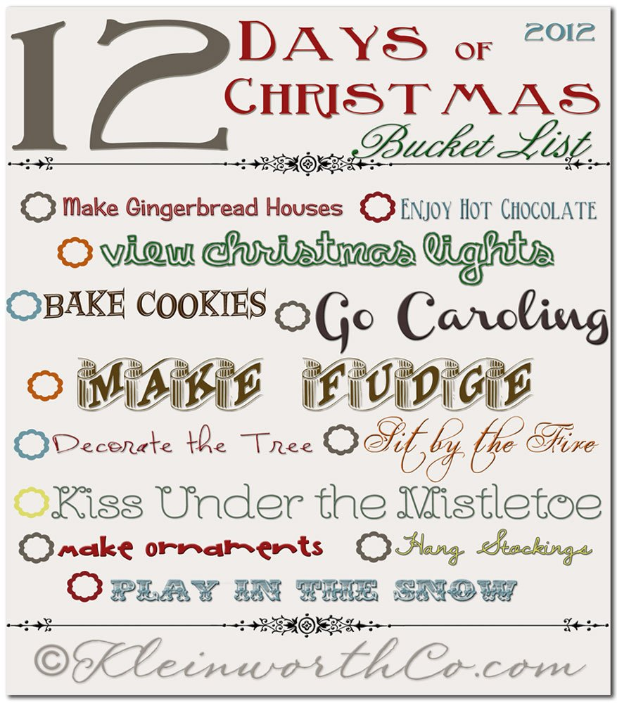 12 days of christmas bucket list free printable