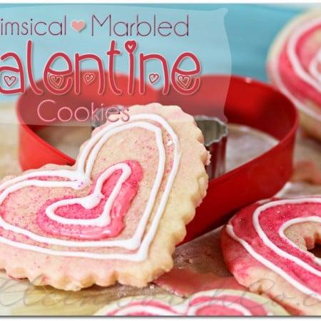 Whimsical Marbled Valentine Cookies