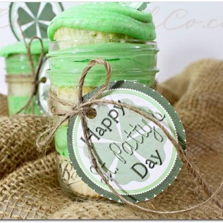 St. Patty's Day Cupcake Jars & Free Printable
