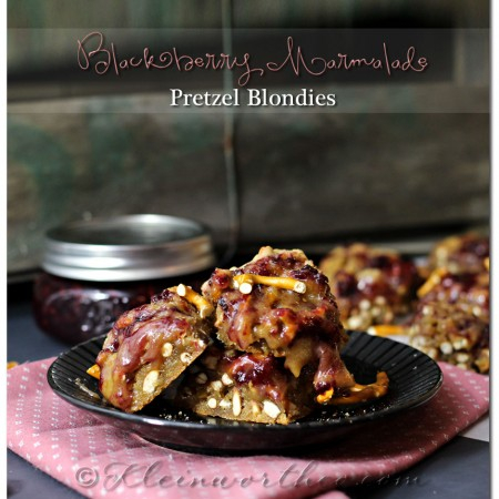 Blackberry Marmalade Pretzel Blondies