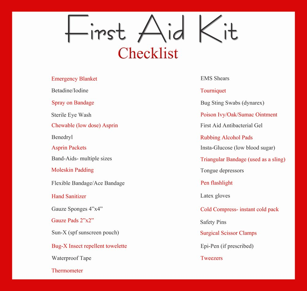 First Aid Kit And Printable Checklist, DIY First Aid Kit  Printable Office Supply List