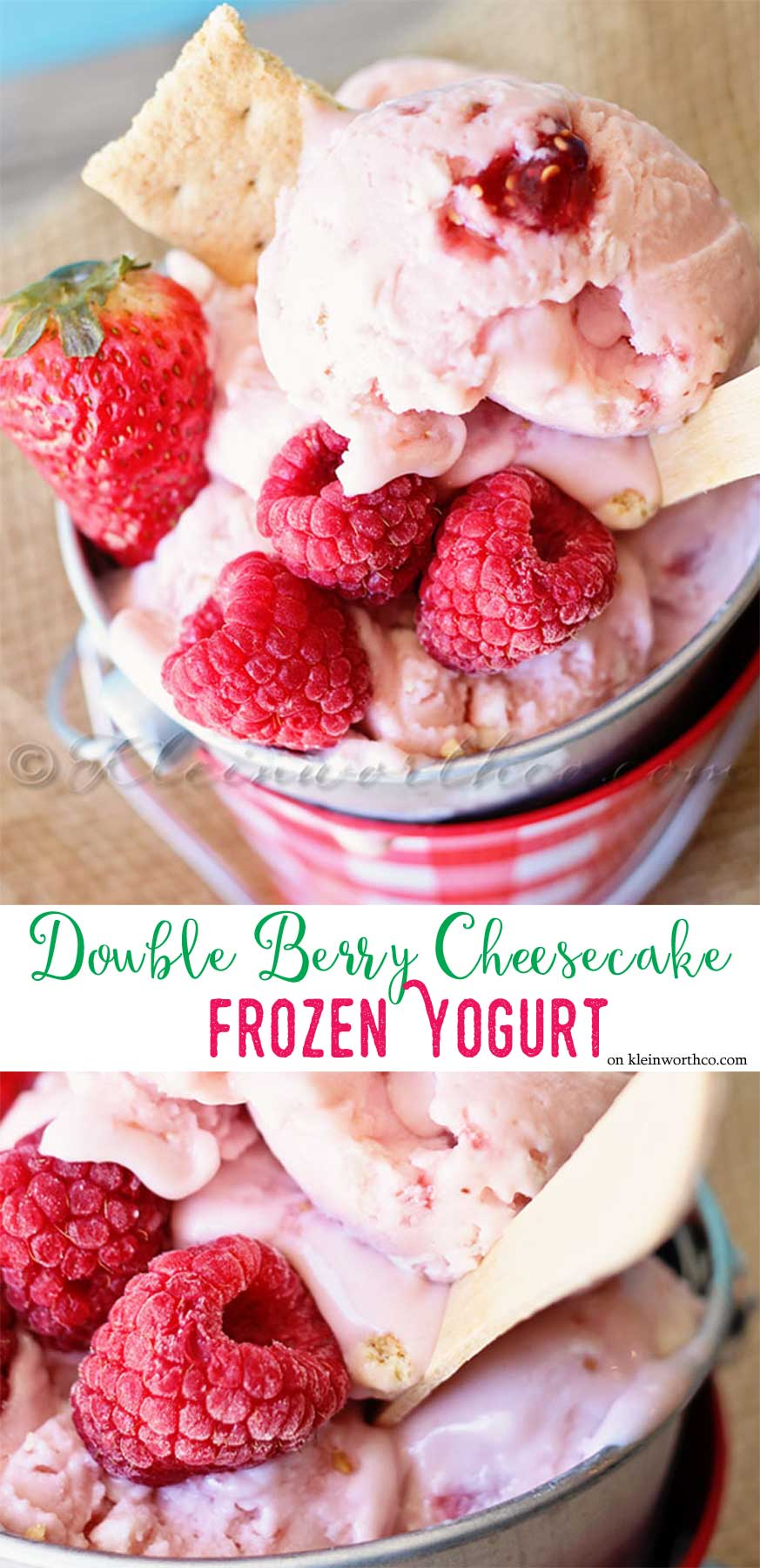 Double Berry Cheesecake Frozen Yogurt is a simple berry packed homemade frozen dessert that the whole family will love all summer long.