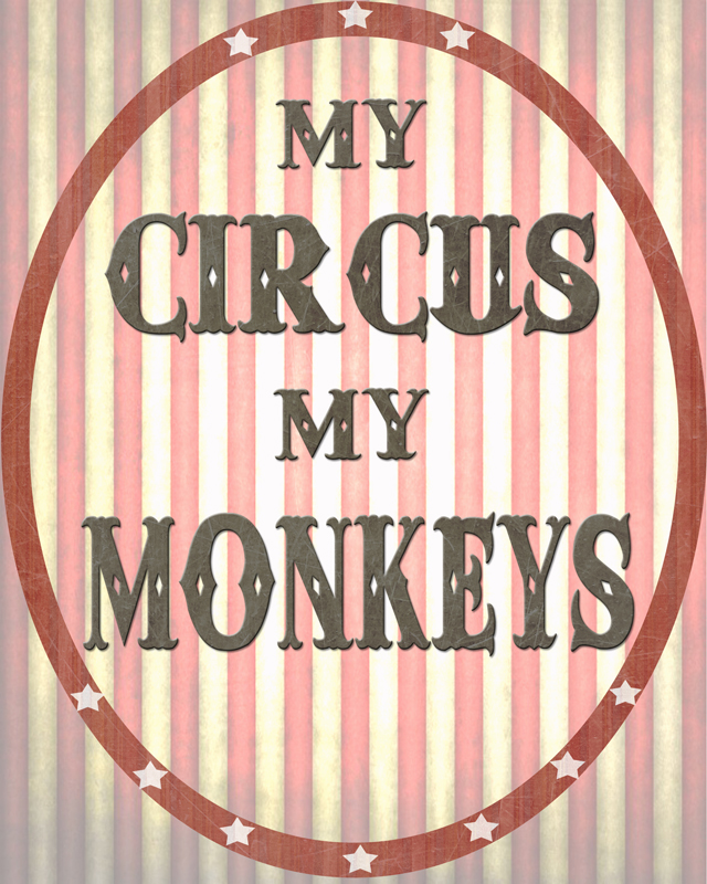 free printable, My Circus My Monkeys Printable