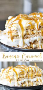 Banana Caramel Ice Box Cake is the easiest frozen dessert recipe. Just combine ingredients & chill overnight. This is one dessert recipe that never leaves leftovers.