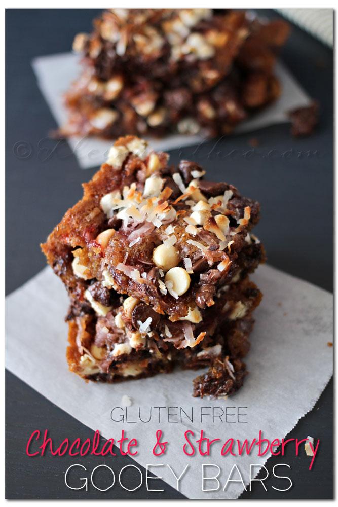 Gluten Free Chocolate Strawberry Gooey Bars