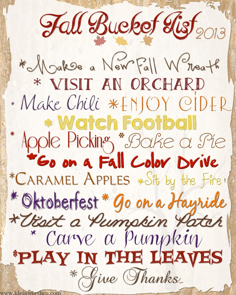 fall bucket list 2013 W