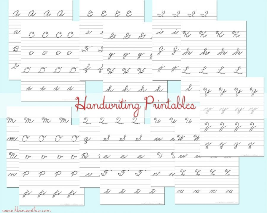 Cursive Handwriting Practice Sheets - Kleinworth & Co