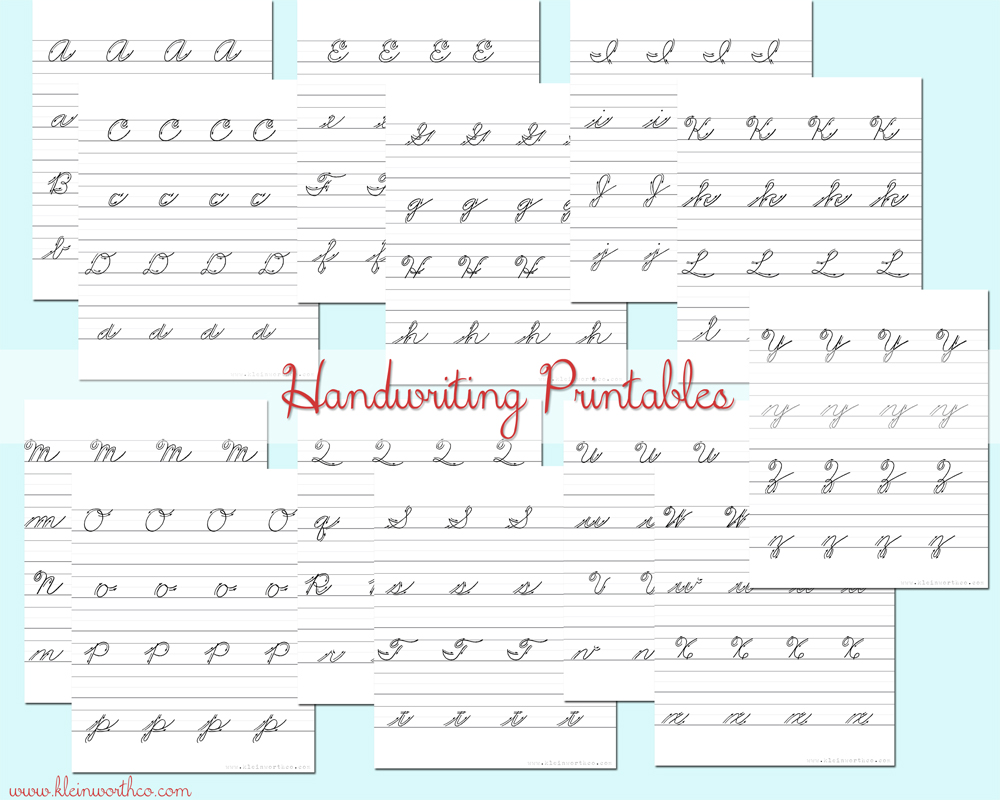 Cursive Handwriting Practice Sheets BacktoSchoolWeek Kleinworth – Learn Cursive Worksheets