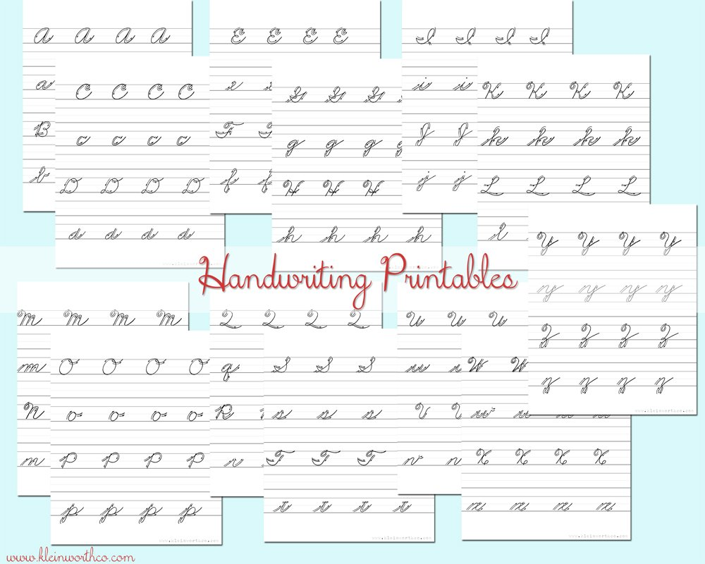 Cursive Handwriting Practice Sheets #BacktoSchoolWeek - Kleinworth & Co