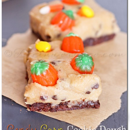Candy Corn Cookie Dough Brownies