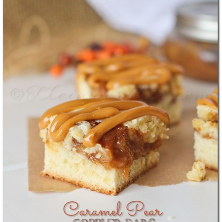 Caramel Pear Cobbler Bars