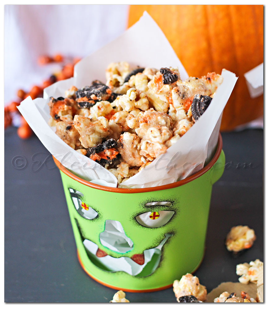 Halloween Oreo Cookie Butter Popcorn