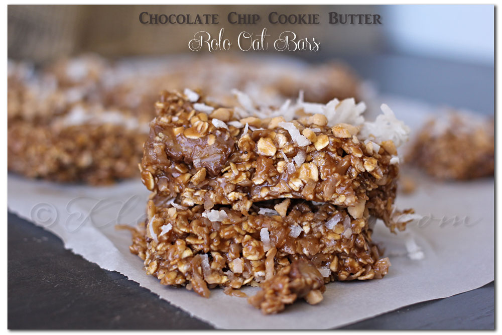 cookie-butter-rolo-oat-bars, no bake treats, quick desserts
