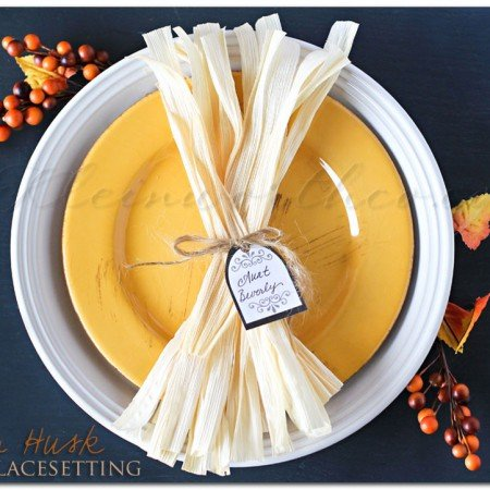Corn Husk Fall Tablesetting & Free Printable