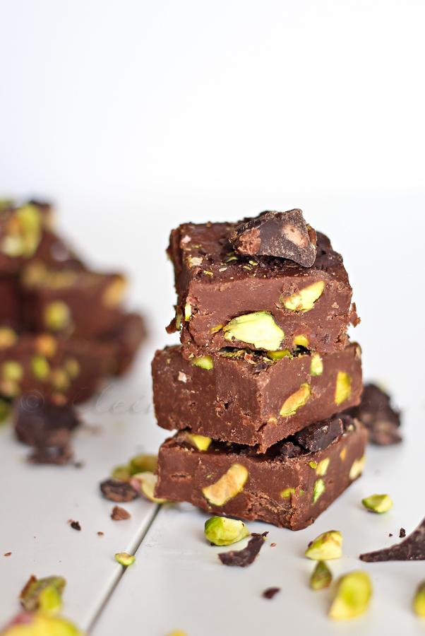 Dark Chocolate Pistachio Fudge