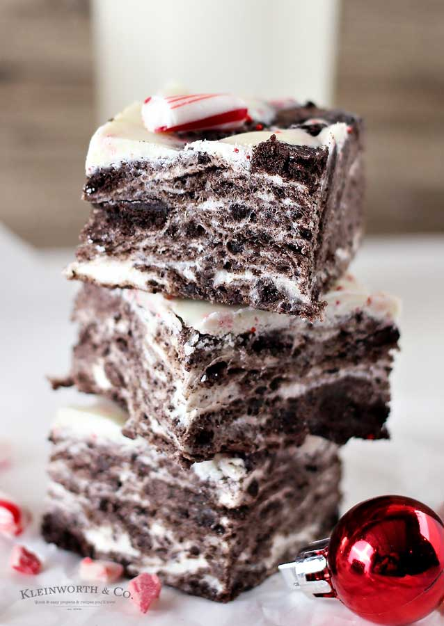 No Bake Peppermint Oreo Bars recipe
