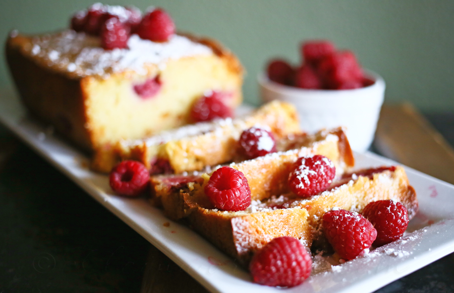 Raspberry White Chocolate Pound Cake Recipe from Kleinworth & Co. www.kleinworthco.com