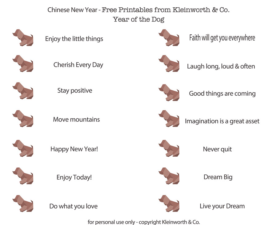 Fortunes New Year Printable Kleinworth & Co