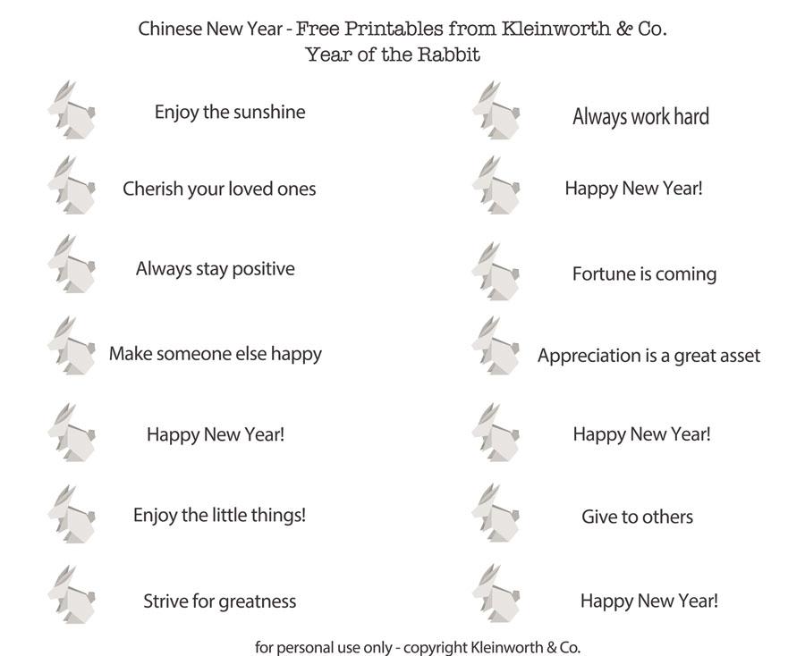 Fortunes New Year Printable Kleinworth & Co