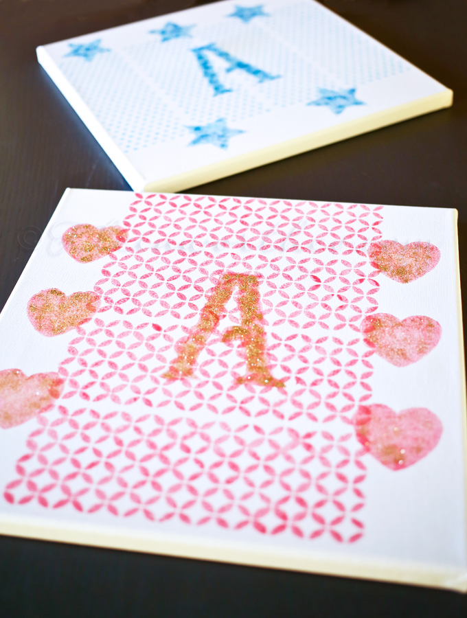 Stenciled Canvas Wall Art ~ Girl's Room