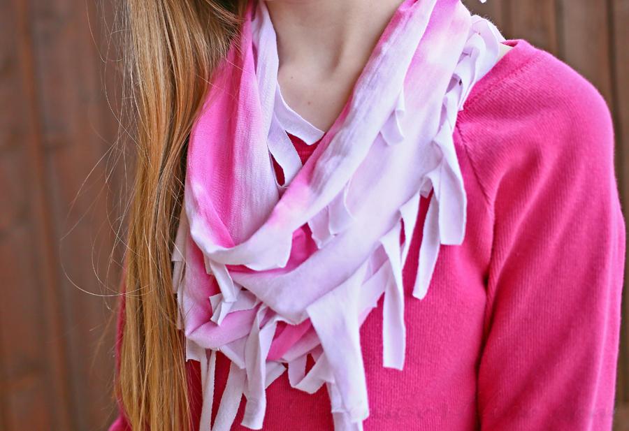 Neon Tie-Dye Fringe Scarf