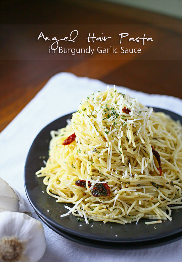 Angel Hair Pasta in Burgundy Garlic Sauce
