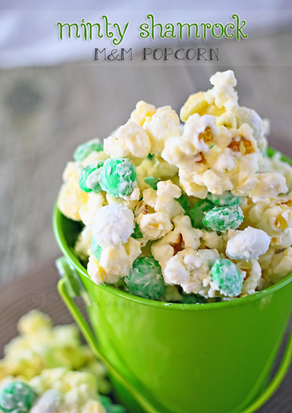 Minty Shamrock M&M Popcorn from Gina & Kleinworth & Co.
