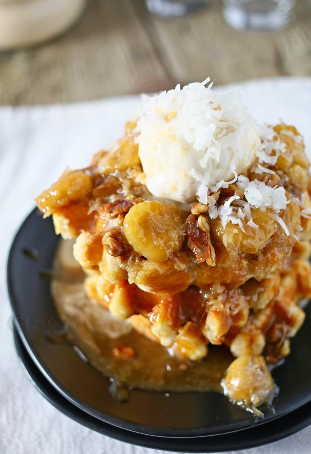 Coconut Bananas Foster, the perfect topping for waffles and ice cream!