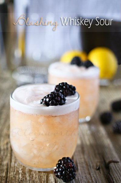 Blushing Whiskey Sour - a delicious twist on the classic cocktail.