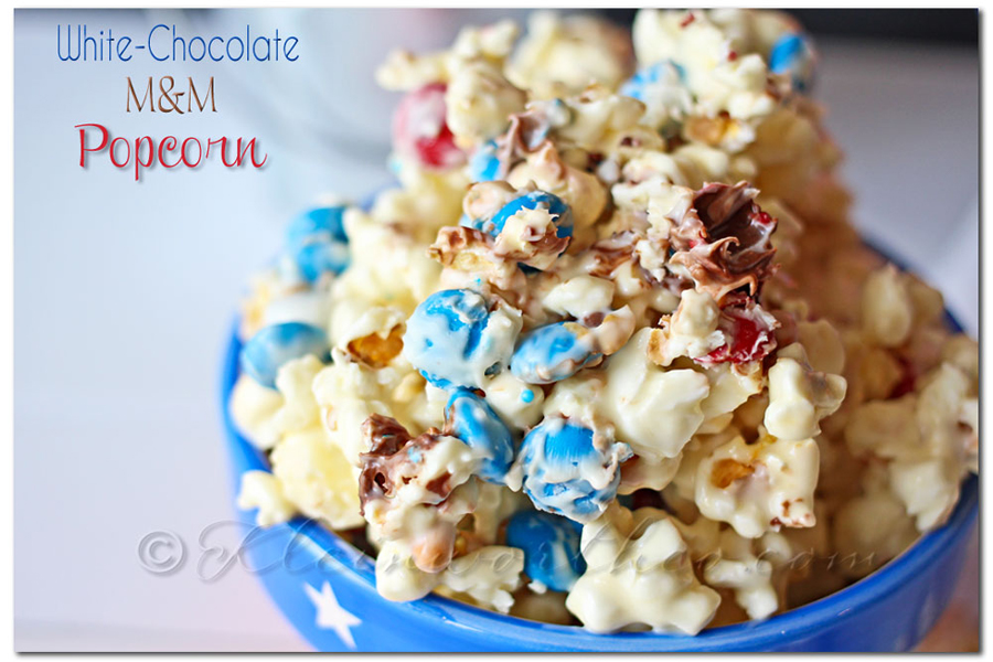 White Chocolate M&M Popcorn www.kleinworthco.com