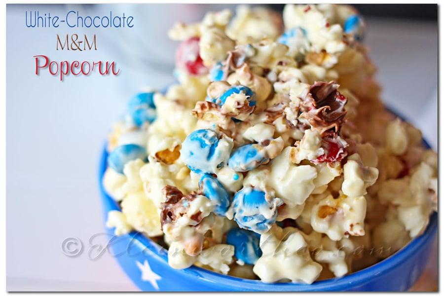 White Chocolate M&M Popcorn www.kleinworthco.com