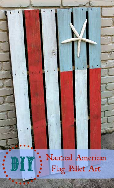 Nautical American FLag Pallet Art