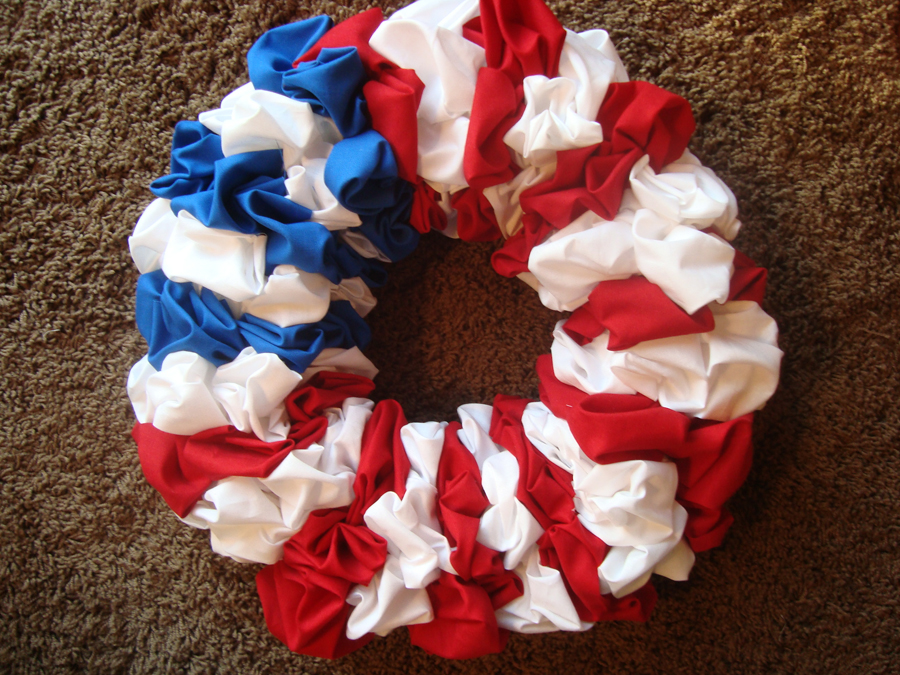 Holiday Fabric Scrap Wreath