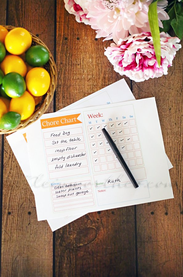 Chore Chart Checklist Template