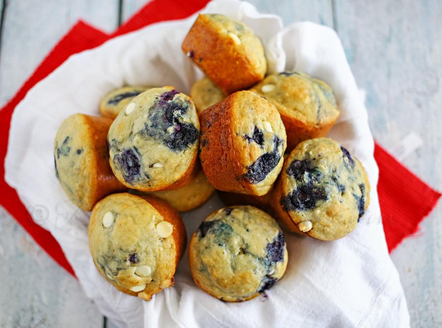Blueberry White Chocolate Pancake Muffins