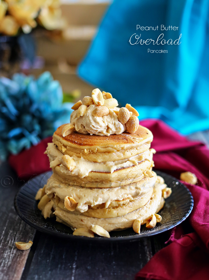 The best Peanut Butter Overload Pancakes