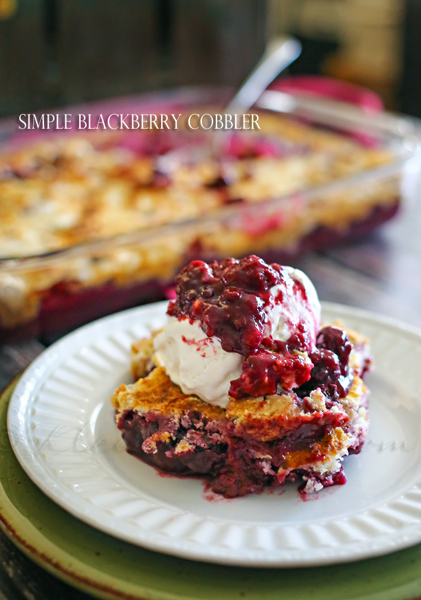 Simple Blackberry Cobbler with a scoop of vanilla ice cream