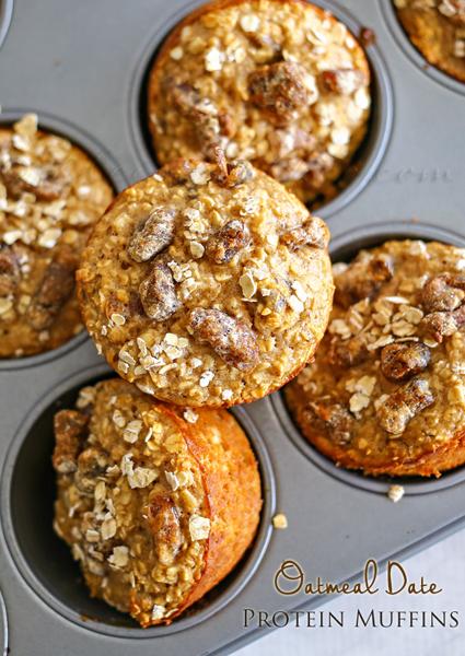 Oatmeal Date Protein Muffins : Healthy Breakfast Ideas