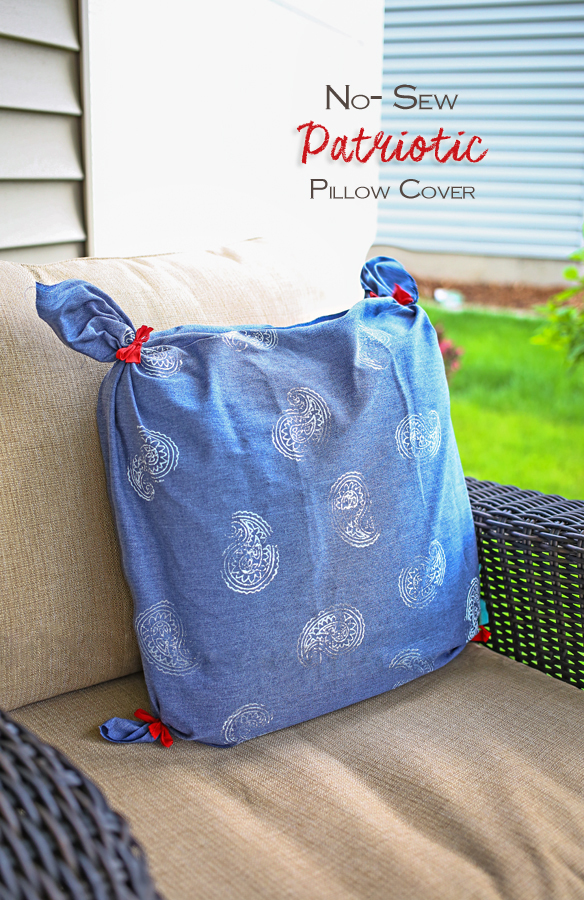 No Sew Patriotic Pillow Cover