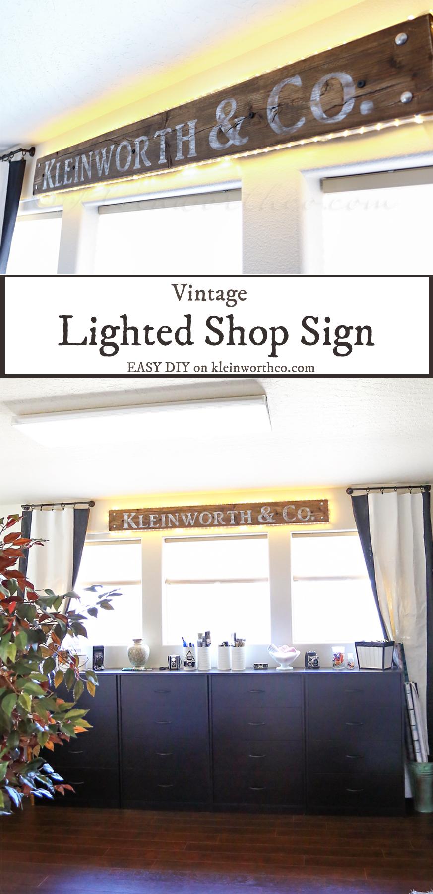Vintage Lighted Shop Sign