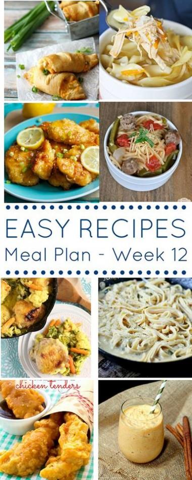 Easy Dinner Recipes Meal Plan {Week 12}