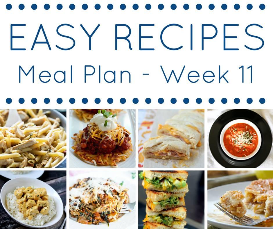 Easy Dinner Recipes Meal Plan {Week 11}