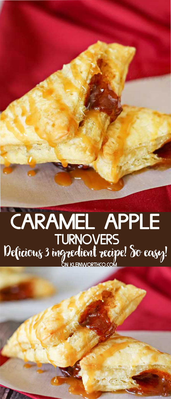 Caramel Apple Turnovers recipe - just 3 ingredients PLUS video