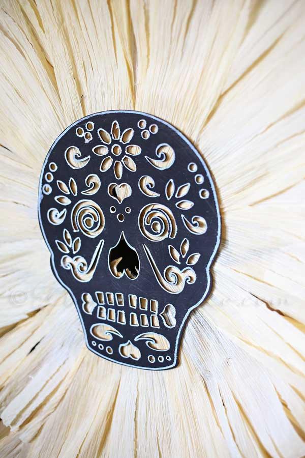 Sugar Skull Corn Husk Wreath