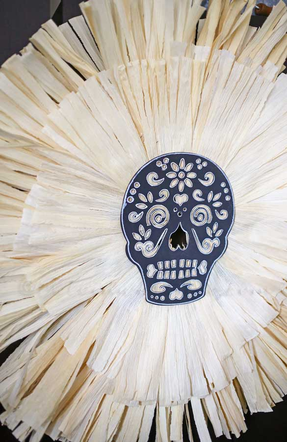Sugar Skull Corn Husk Wreath