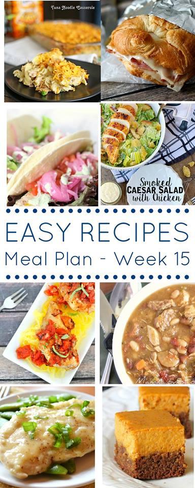 Easy Dinner Recipes Meal Plan {Week 15}