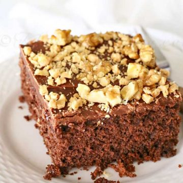 Walnut & Toffee Chocolate Poke Cake