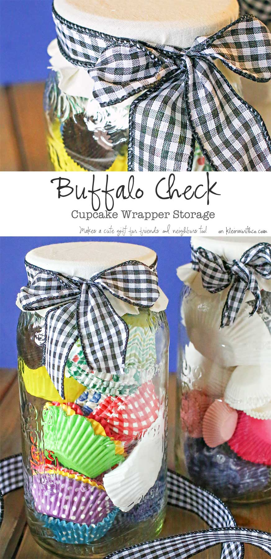 Buffalo Check Cupcake Wrapper Storage